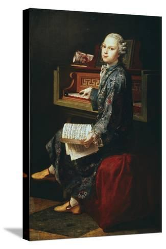 Young Musician at the Harpsicord--Stretched Canvas Print