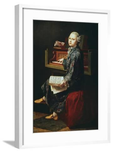 Young Musician at the Harpsicord--Framed Art Print