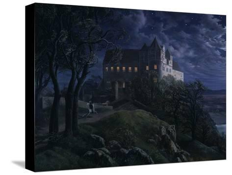 Castle Scharfenberg at Night, 1827-Ernst Ferdinand Oehme-Stretched Canvas Print