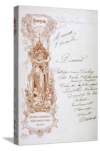 Champagne Advertisement on a Menu, 19th Century--Stretched Canvas Print