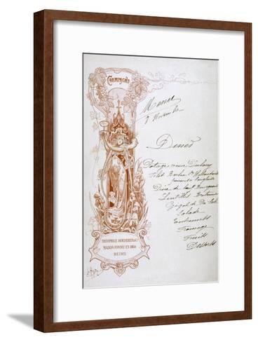 Champagne Advertisement on a Menu, 19th Century--Framed Art Print