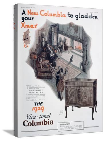 Christmas Advert for Columbia Gramophones, 1928--Stretched Canvas Print
