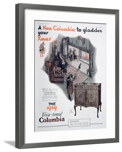 Christmas Advert for Columbia Gramophones, 1928--Framed Art Print