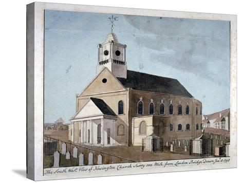 South-West View of the Church of St Mary Newington, Newington Butts, Southwark, London, 1798--Stretched Canvas Print