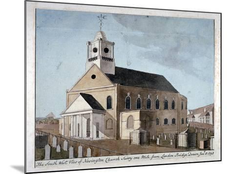 South-West View of the Church of St Mary Newington, Newington Butts, Southwark, London, 1798--Mounted Giclee Print