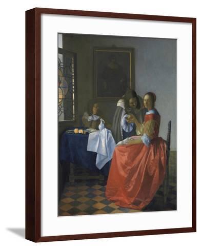 The Girl with the Wineglass-Johannes Vermeer-Framed Art Print