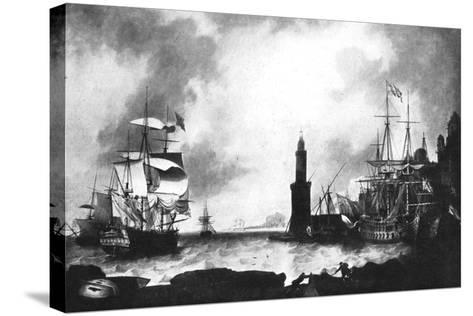 Arrival of HMS 'Vanguard'--Stretched Canvas Print