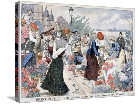 Spring Flowers in a Market, Paris, 1903--Stretched Canvas Print