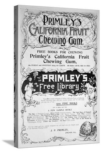 Advert for Primley's California Fruit Chewing Gum, 1894--Stretched Canvas Print