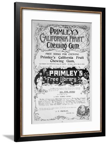 Advert for Primley's California Fruit Chewing Gum, 1894--Framed Art Print