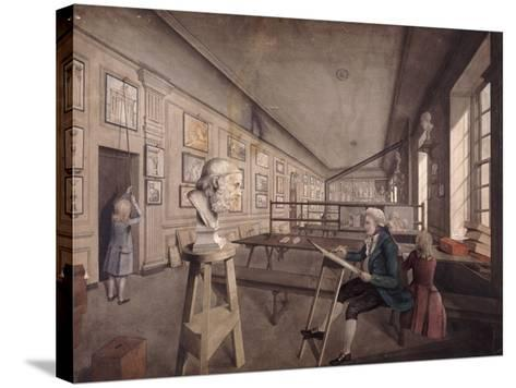 An Artist Copying a Bust on a Pedestal in the Royal Academy at Somerset House, London, C1780--Stretched Canvas Print