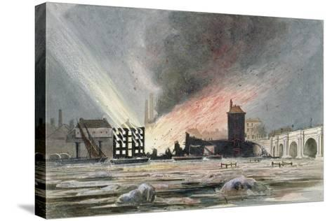 Destruction of Sir C Price's Oil Warehouse and Wharf, William Street, Blackfriars, London, 1845--Stretched Canvas Print