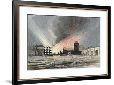 Destruction of Sir C Price's Oil Warehouse and Wharf, William Street, Blackfriars, London, 1845--Framed Art Print