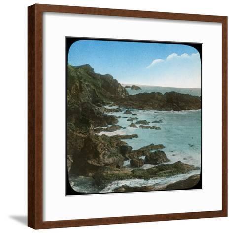 Coastal Scene Near the Lizard, Cornwall, Late 19th or Early 20th Century--Framed Art Print