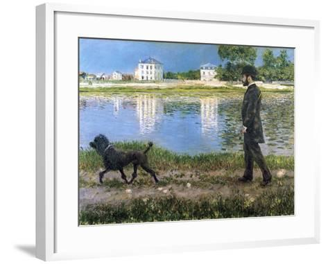 Richard Gallo and His Dog at Petit Gennevilliers, C. 1883-1884-Gustave Caillebotte-Framed Art Print