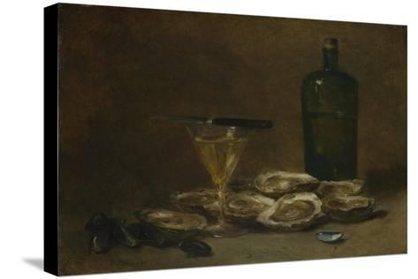 Still Life with Oysters, 1875-1877-Philippe Rousseau-Stretched Canvas Print