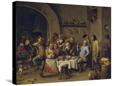 Twelfth Night Party, 1650-1660-David Teniers the Younger-Stretched Canvas Print
