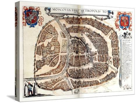 Map of Moscow, 1572-Georg Braun-Stretched Canvas Print