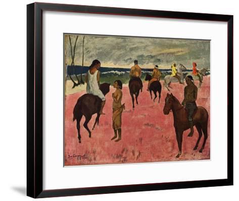 On Horseback at Seashore, 1902-Paul Gauguin-Framed Art Print