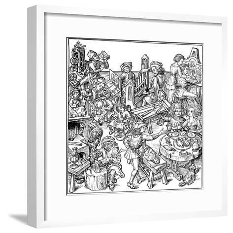 Mercury and His Children. Illustration from the Housebook, 1480S--Framed Art Print