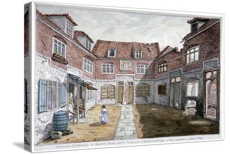 Watermen's Almshouses in Queen's Arms Court, Upper Ground Street, Southwark, London, 1839--Stretched Canvas Print