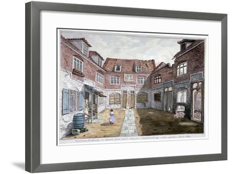 Watermen's Almshouses in Queen's Arms Court, Upper Ground Street, Southwark, London, 1839--Framed Art Print