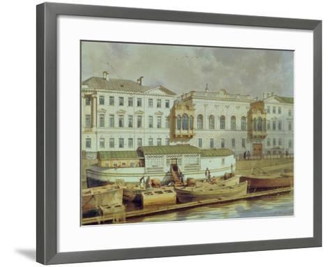 Naryshkin Palace on the Fontanka River, Mid of the 19th C-Ludwig Premazzi-Framed Art Print