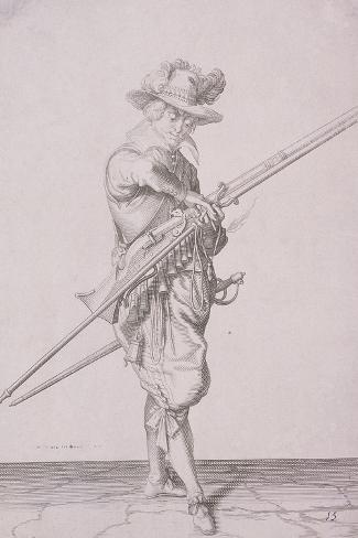Figure in Military Clothing Holding a Musket and Wearing a Sword, 1607--Stretched Canvas Print