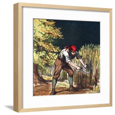 Reaper Beginning to Cut Crop of Wheat with a Sickle, 1867--Framed Art Print