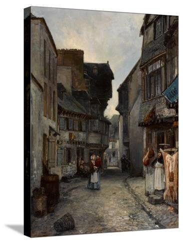 A Street in Landerneau, 1851-Johan Barthold Jongkind-Stretched Canvas Print