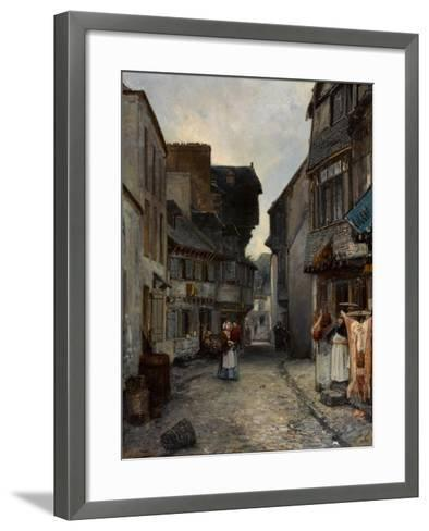 A Street in Landerneau, 1851-Johan Barthold Jongkind-Framed Art Print