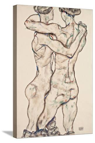 Naked Girls Embracing, 1914-Egon Schiele-Stretched Canvas Print