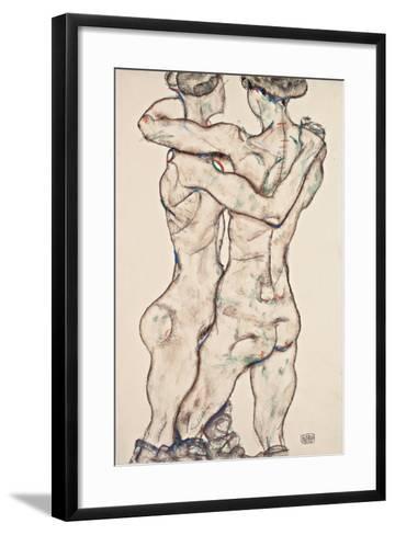 Naked Girls Embracing, 1914-Egon Schiele-Framed Art Print
