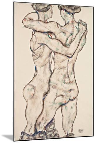 Naked Girls Embracing, 1914-Egon Schiele-Mounted Giclee Print