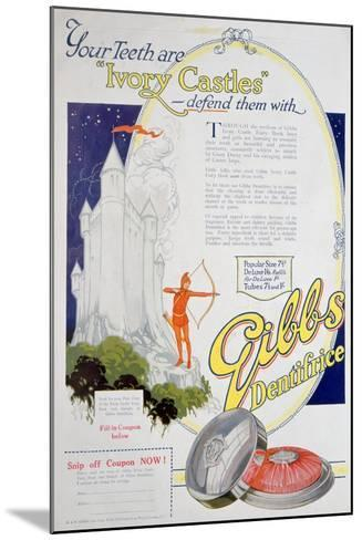 Advert for Gibbs Solid Dentifrice, 1922--Mounted Giclee Print
