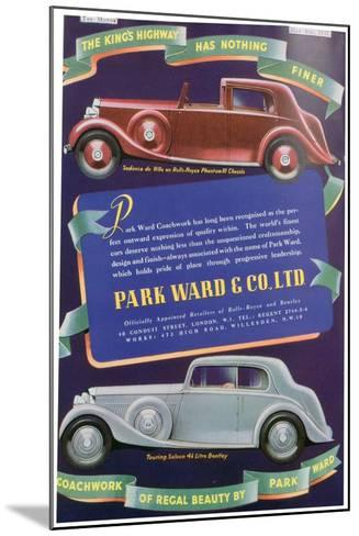 Advert for Park Ward and Co Car Coachwork, 1937--Mounted Giclee Print