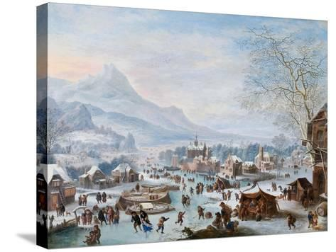 Winter Scene with Skaters-Jan Griffier-Stretched Canvas Print