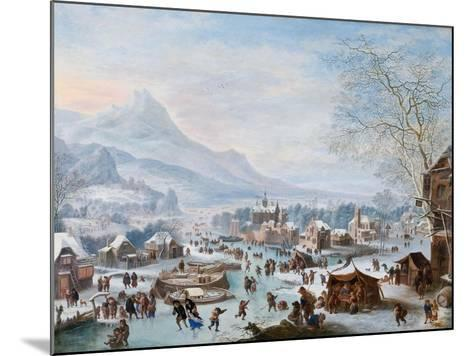 Winter Scene with Skaters-Jan Griffier-Mounted Giclee Print
