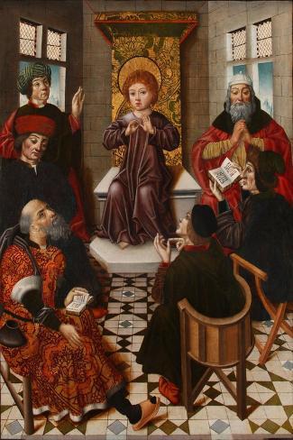 Christ Among the Doctors-Diego De La Cruz-Stretched Canvas Print