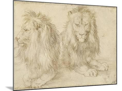 Two Seated Lions, 1521-Albrecht D?rer-Mounted Giclee Print
