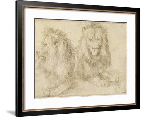 Two Seated Lions, 1521-Albrecht D?rer-Framed Art Print
