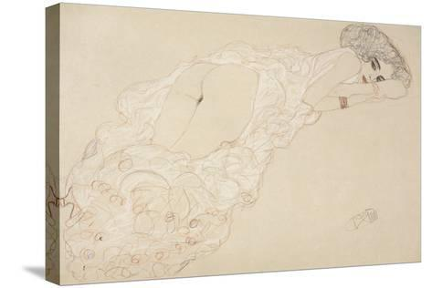Reclining Nude Lying on Her Stomach and Facing Right, 1910-Gustav Klimt-Stretched Canvas Print