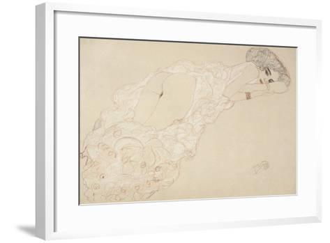 Reclining Nude Lying on Her Stomach and Facing Right, 1910-Gustav Klimt-Framed Art Print