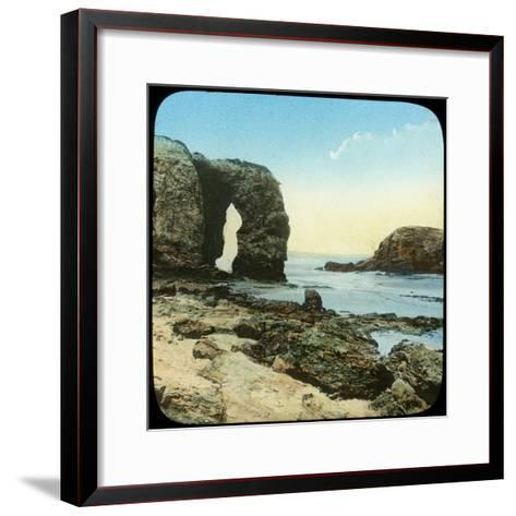 Rock Arch at Perran Beach, Cornwall, Late 19th or Early 20th Century--Framed Art Print