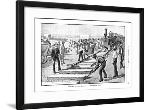Laying Sleepers and Rails (Permanent Wa) on the Transvaal Railway, South Africa, 1893--Framed Art Print