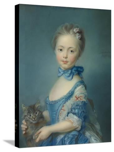 A Girl with a Kitten, 1745-Jean-Baptiste Perronneau-Stretched Canvas Print