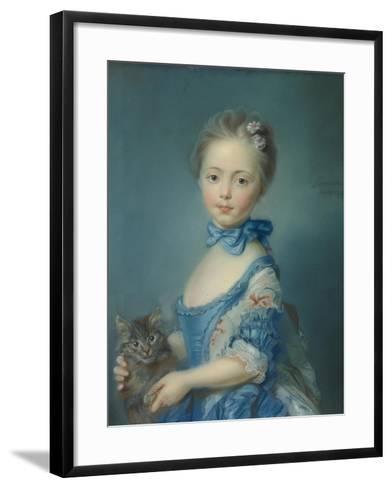 A Girl with a Kitten, 1745-Jean-Baptiste Perronneau-Framed Art Print