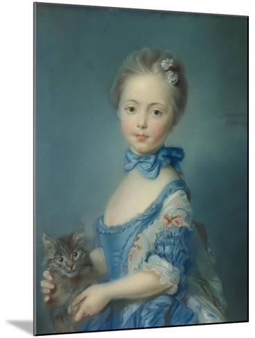 A Girl with a Kitten, 1745-Jean-Baptiste Perronneau-Mounted Giclee Print