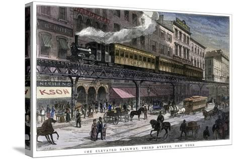 The Elevated Railway, Third Avenue, New York, 1879--Stretched Canvas Print
