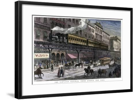 The Elevated Railway, Third Avenue, New York, 1879--Framed Art Print